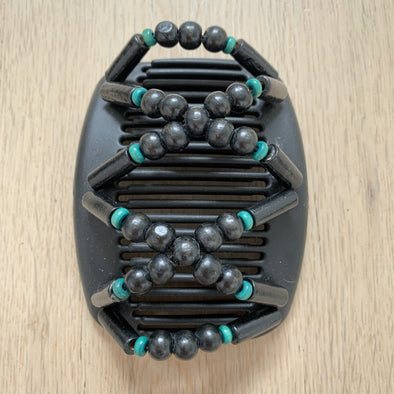 Medium black hair comb with black and turquoise beading.