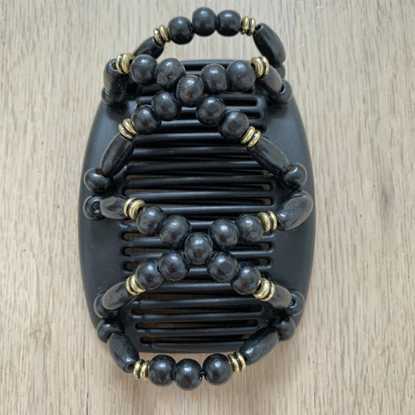 Medium black hair comb with black and gold coloured beading (1).