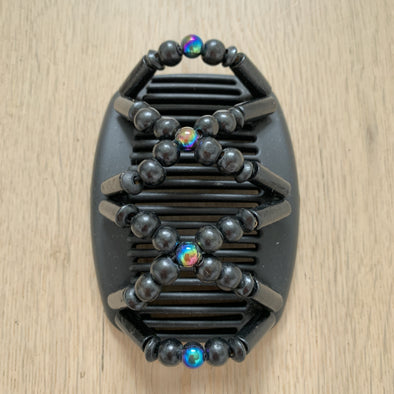 Medium black hair comb with black beads and dark holographic centre beads.