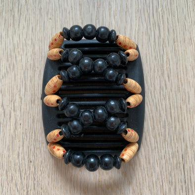 Fine black hair comb with black and natural wooden beads