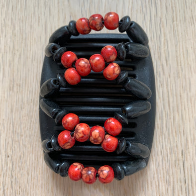 Fine black hair comb with red centre beads and black wooden beads