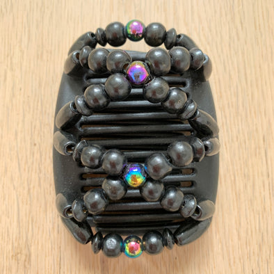 Fine black hair comb with holographic beads and black wooden beads