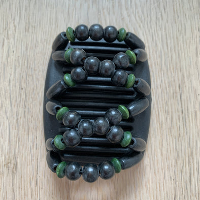 Fine black hair comb with black and green wooden beads