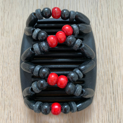 Fine black hair comb with red centre beads and black and grey beads