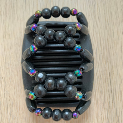 Fine black hair comb with black wooden beads and holographic beads
