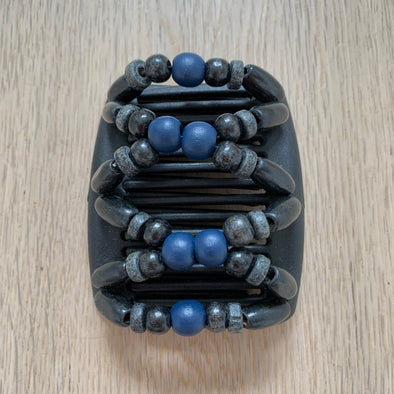 Fine black hair comb with navy blue centred beads and black and grey beads