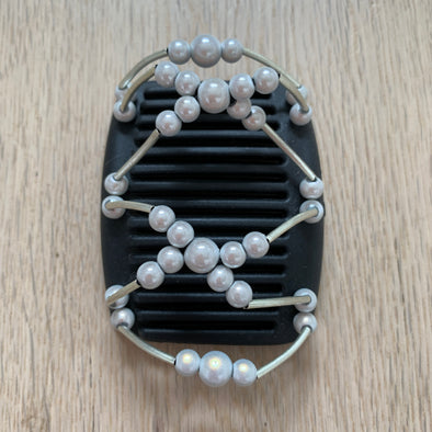 Fine black hair comb with silver/white beads