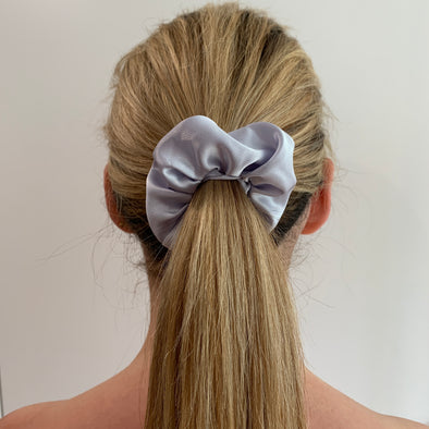 Scrunchies are back and they're here to stay! These stunning scrunchies look great in your hair and also work as gorgeous accessories.  Colour/Pattern: Silver/Grey  Material: Satin  Washing instructions: Cold hand wash  Dimensions: Material width approximately 4 cm  Made by us in Bondi Beach  With love from Larzy xx