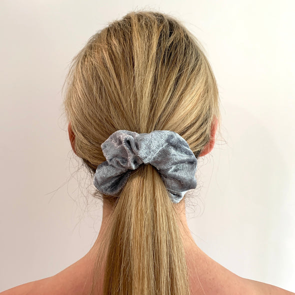 Scrunchies are back and they're here to stay! These stunning scrunchies look great in your hair and also work as gorgeous accessories.  Colour/Pattern: Silver/Grey Material: Velveteen  Washing instructions: Cold hand wash  Dimensions: Material width approximately 4 cm  Made by us in Bondi Beach  With love from Larzy xx