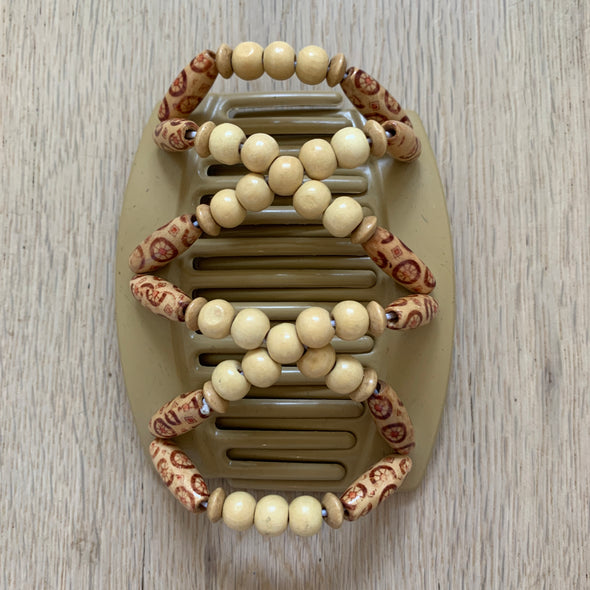 Large blonde hair clips with natural wooden beads