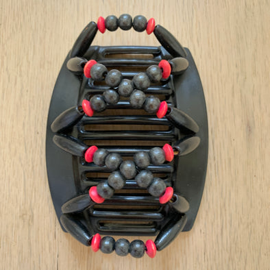 Large black hair comb with black and red wooden beads