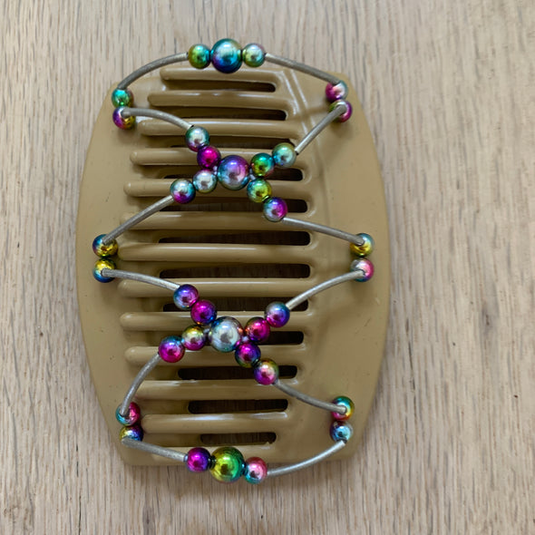Large blonde hair comb with holographic beads