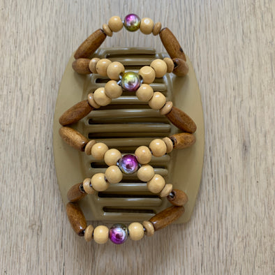Large blonde hair comb with holographic centre beads and wooden beads