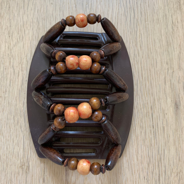 Large brown hair clip with wooden beads