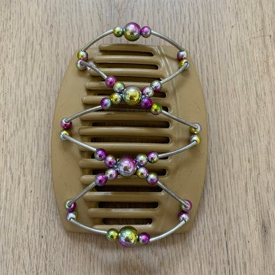 Large blonde hair clip with pink yellow holographic beads