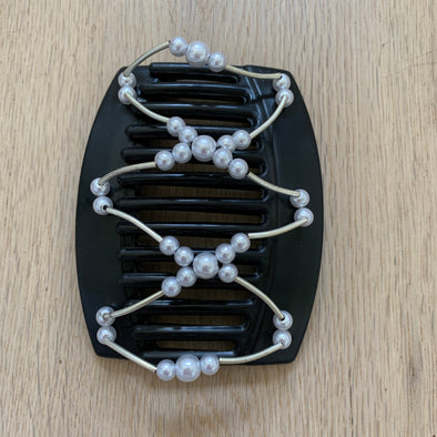 Large black hair comb with silver/white beads