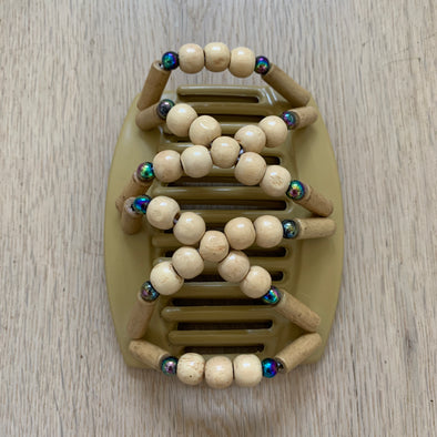 Large blonde hair clips with natural wooden beads and dark holographic beads