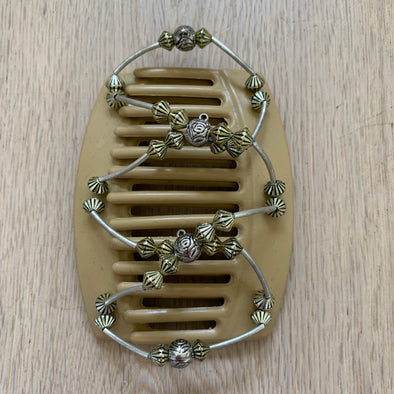 Large blonde hair clip with silver and gold coloured beads