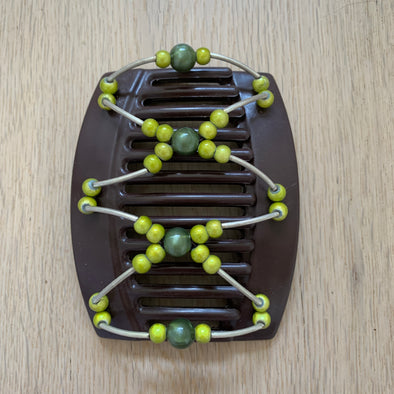 Large brown hair clip with green beads