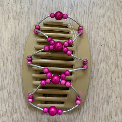 Large blonde hair clip with pink beads