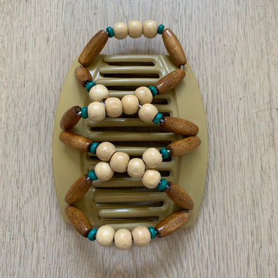 Large blonde hair clip with brown and turquoise wooden beads