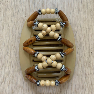 Large blonde hair clip with wooden and silver beads