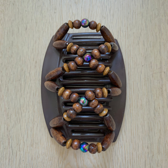 Large brown hair clip with brown wooden beads and dark holographic beads