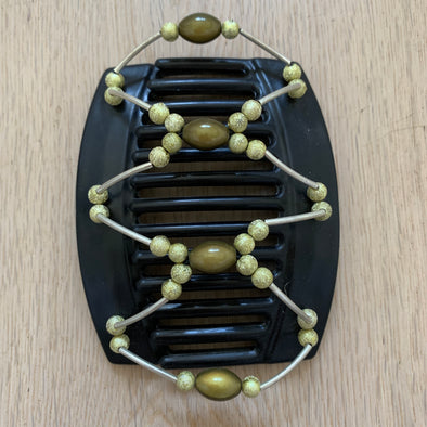 Large black hair clip with olive green beads and sparkly green beads