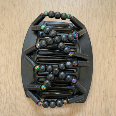 Large black hair comb with black wooden beads and dark holographic beads