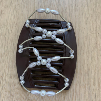 Large brown hair clip with silver beads