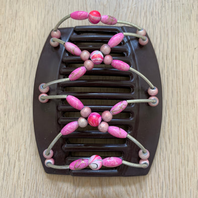 Large brown hair clip with pink beads