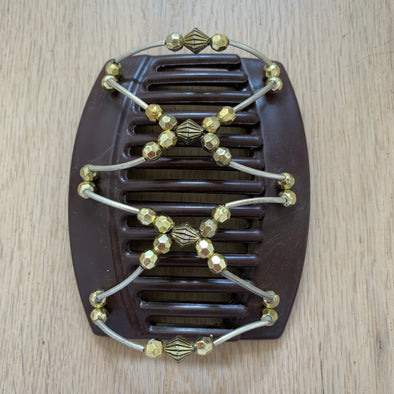 Large brown hair clip with gold beads