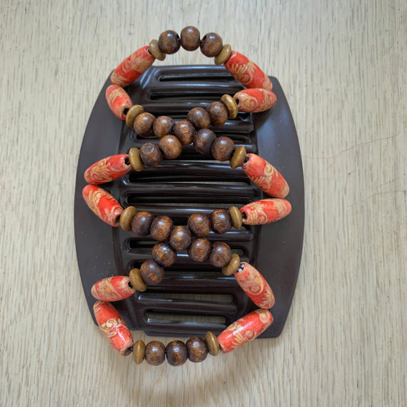 Large brown hair clip with wooden beads and red wooden beads
