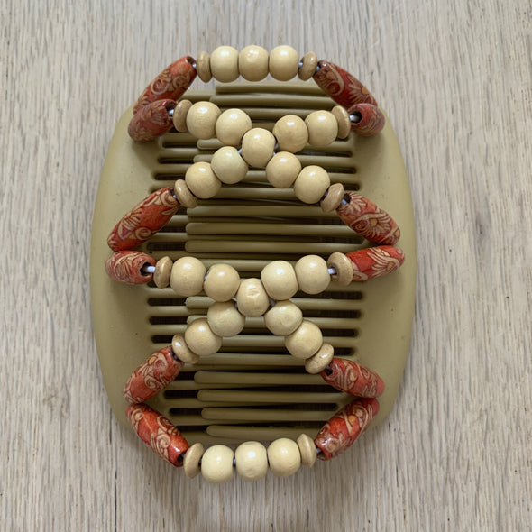 Medium blonde hair clip with light wooden beads and red patterned outer beads.