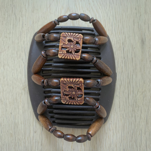 Medium brown hair clip with wooden outer beads and decorative centre beads