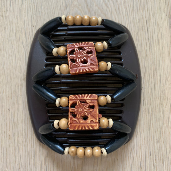 Medium brown hair clip with black outer beading, and wooden/decorative centre beading (3).