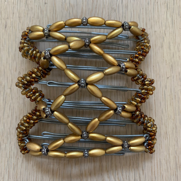 Medium wire hair comb with gold and copper beads