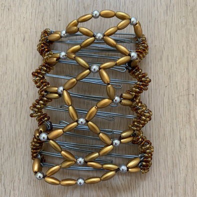 Large wire hair comb with gold and silver coloured beading