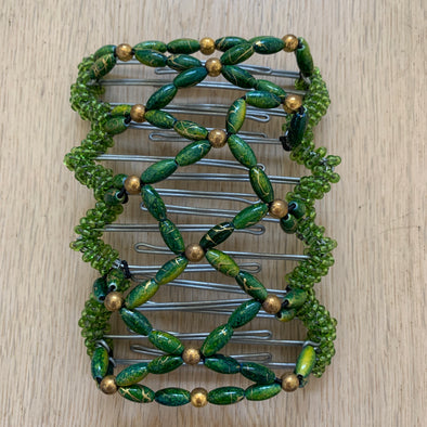 Large wire hair comb with green beading
