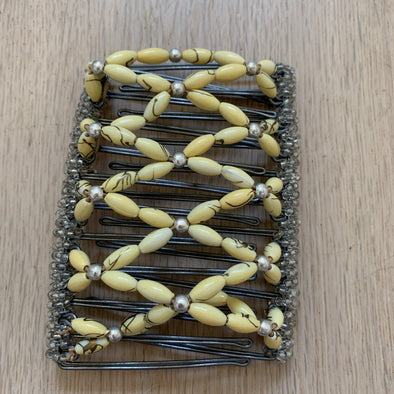 Large wire hair comb with pale yellow and silver coloured beading
