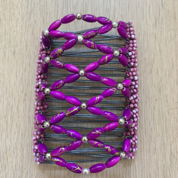 Large wire hair comb with purple beading