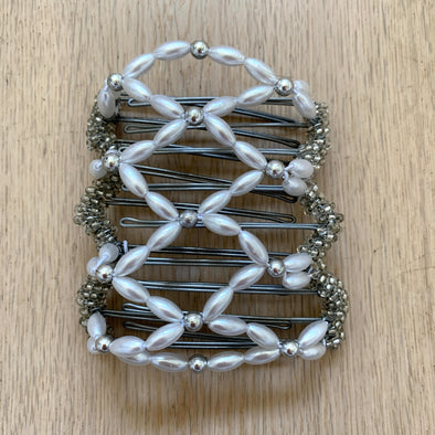 Medium wire hair comb with pearl-white and silver beads