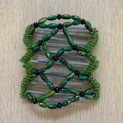 Medium wire hair comb with green and black beads