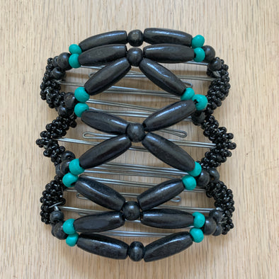 Medium wire hair comb with black and turquoise wooden beads and