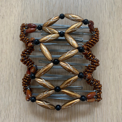Medium wire hair comb with assorted copper gold coloured beads