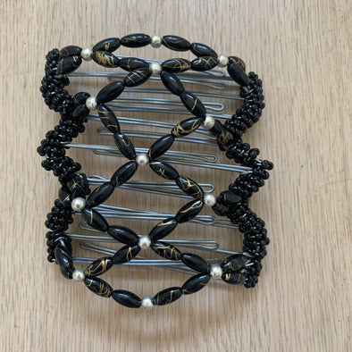 Medium wire hair comb with black and silver beads