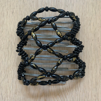 Medium wire hair comb with black beads