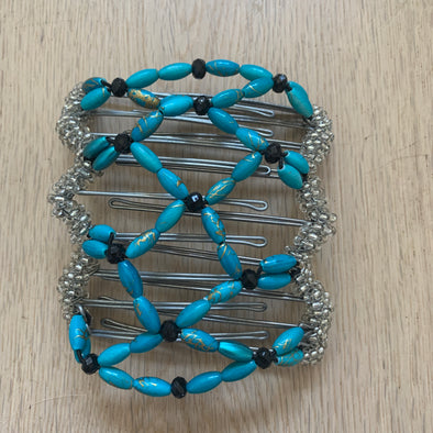 Medium wire hair comb with blue, black and silver beads
