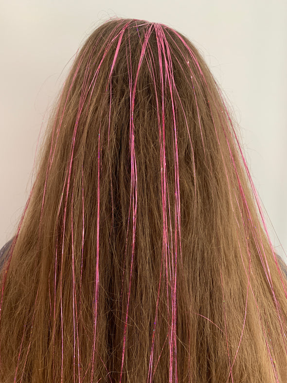 Hair Tinsel - Rose Gold Pink
