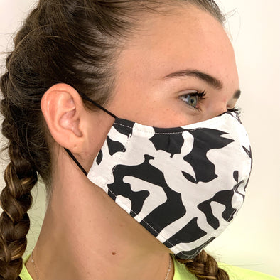 White and black animal patterned face mask - stay safe xx